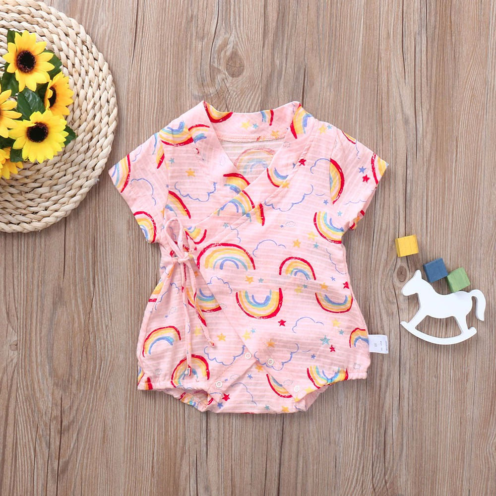 Infant Baby Girls&Boys Cute Short Sleeve Rainbow Printing Jumpsuits