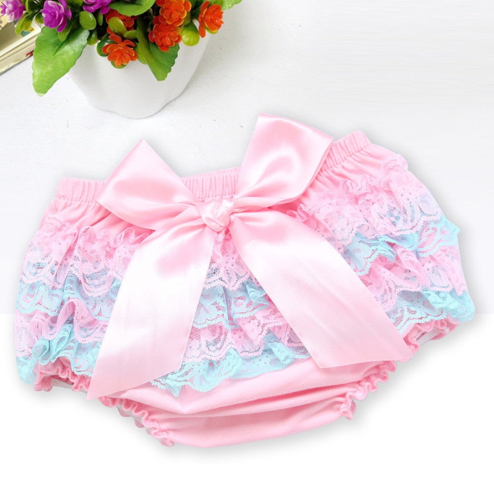 Toddler Baby Infant Girl Lace Ruffle Bloomer Nappy Underwear