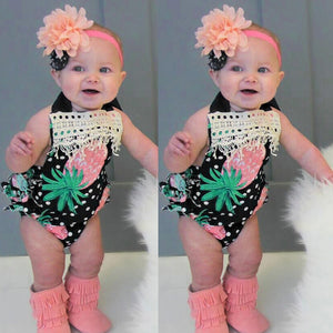Summer Baby Girls Infant Pineapple Tassel Sleeveless Clothes