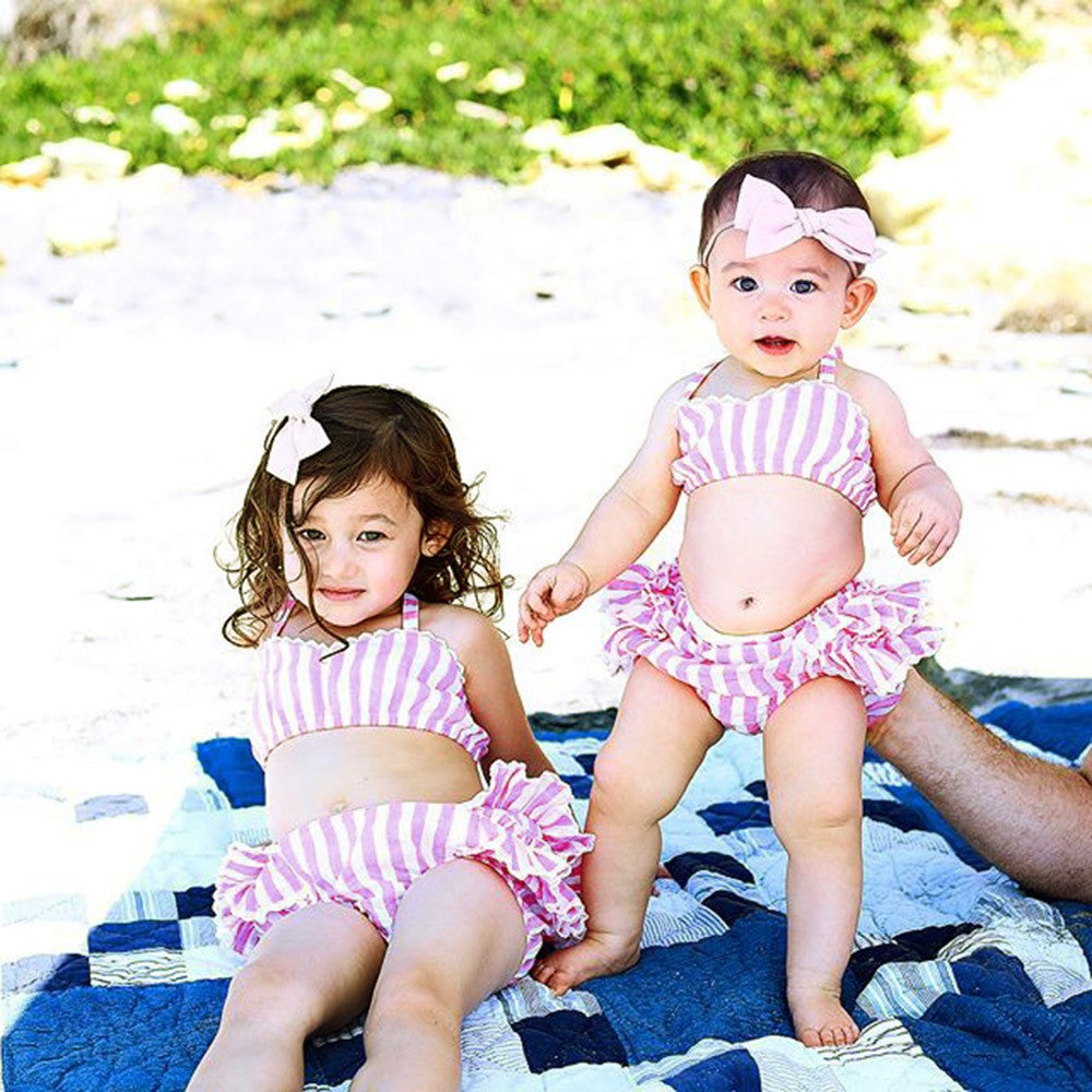 Toddler Baby Girls Lace Straps Backless Tops Striped Shorts Outfits