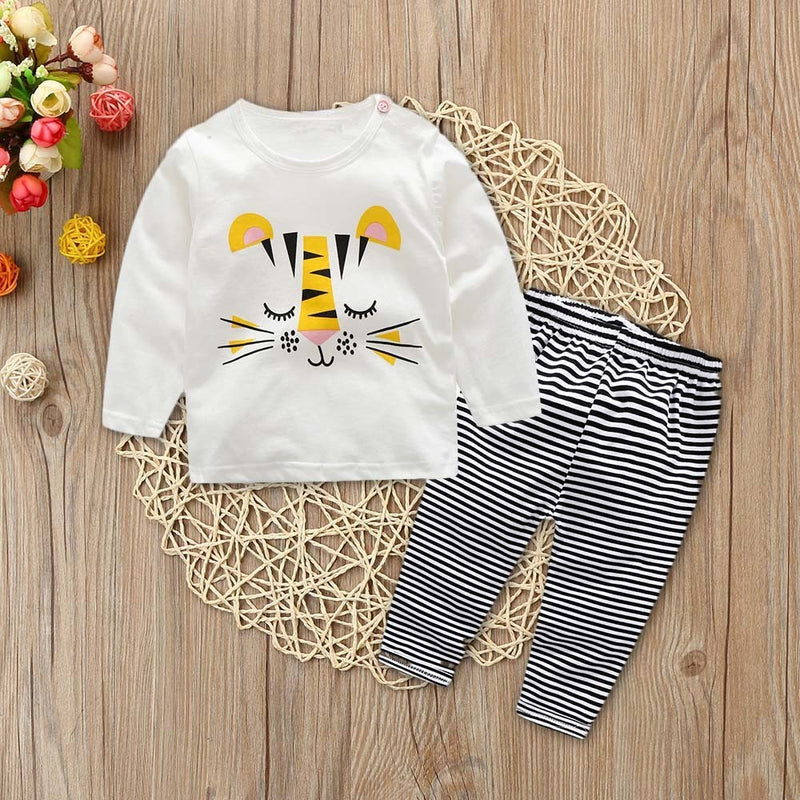 2Pcs Toddler Baby Boys Long Sleeves Cartoon Print