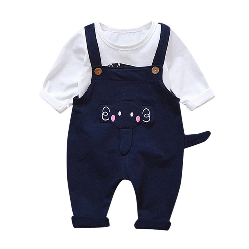 2Pcs Toddler Baby Boys Girls Cartoon Elephant Tops Suspenders