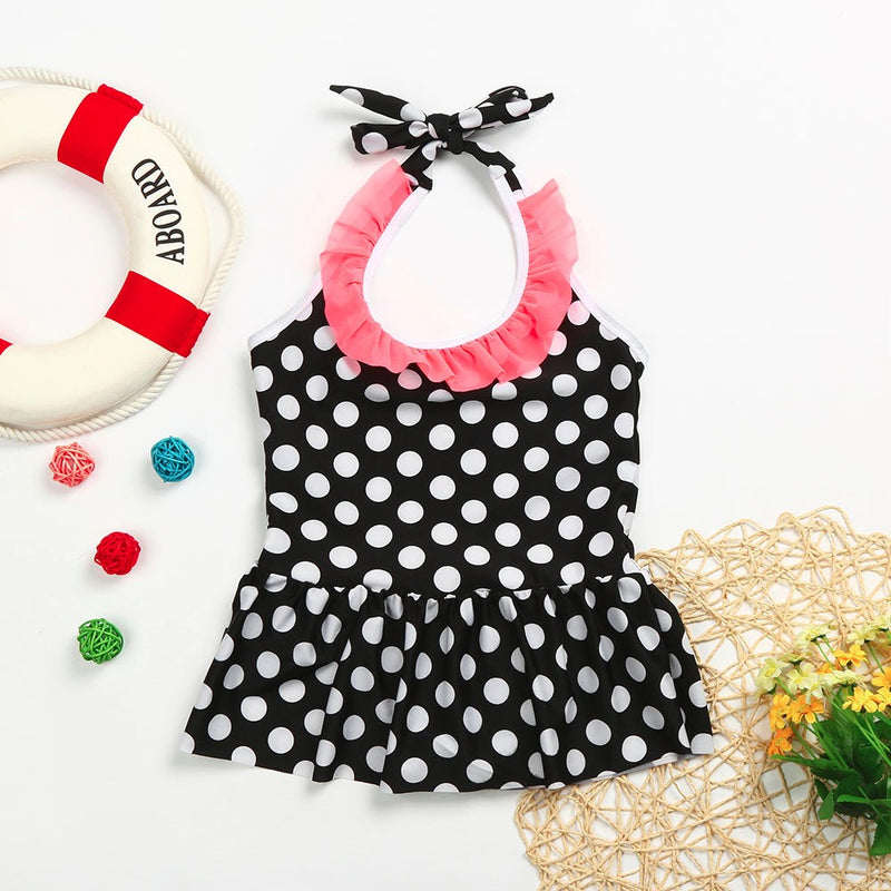 Toddler Girl Plaid Dress Playsuit Swimwear Dot Swimsuit