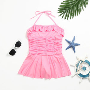 Toddler Girl Strap Dress Playsuit Swimwear Ruched Swimsuit Bathing