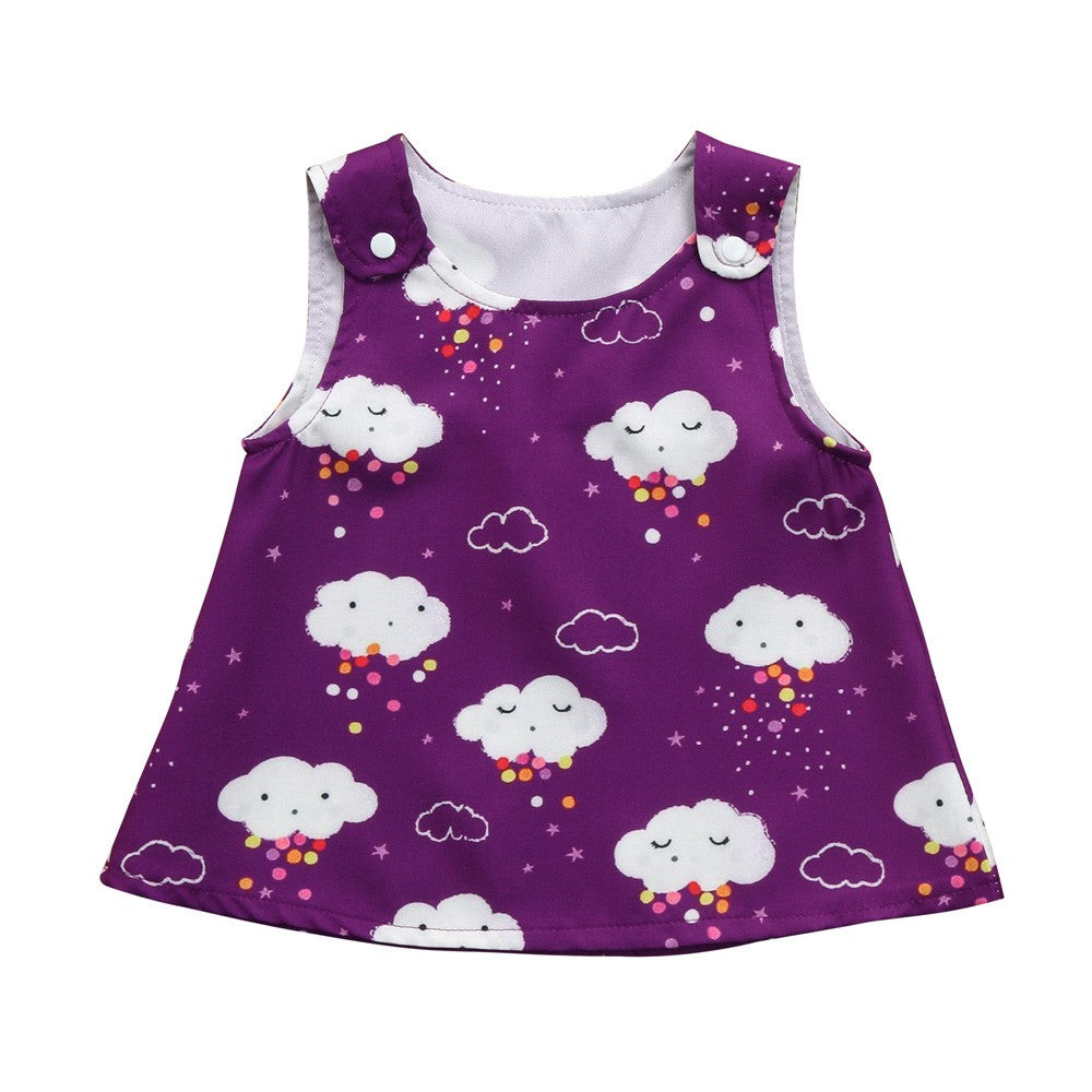 Toddler Infant Baby Girls Dress Clouds Print Strap Sun Dresses