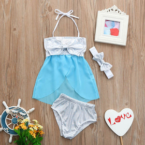 Infant Kids Baby Girls Swimwear Bowknot Straps Swimsuit