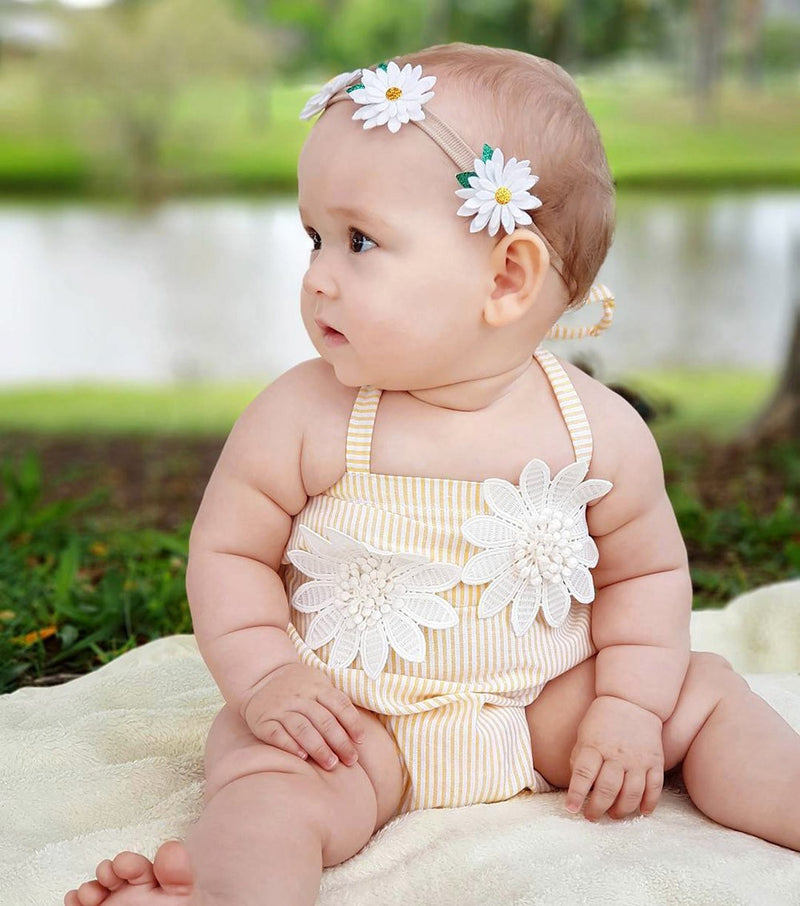 Newborn Kids Baby Girl Stitchwork Striped Romper Floral