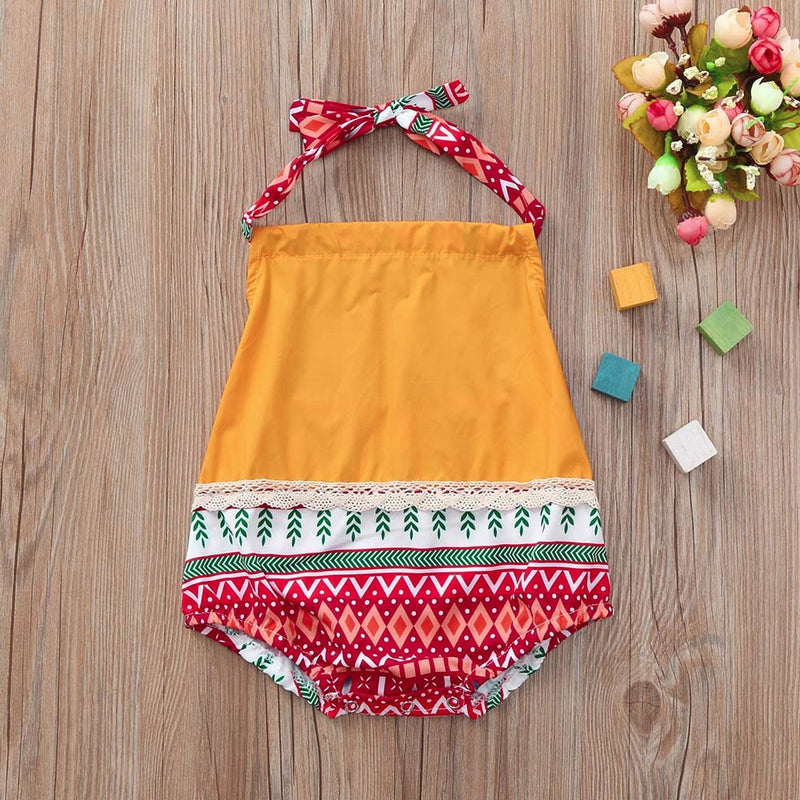 Infant Baby Girls Sleeveless Straps Romper Print Jumpsuit Lace