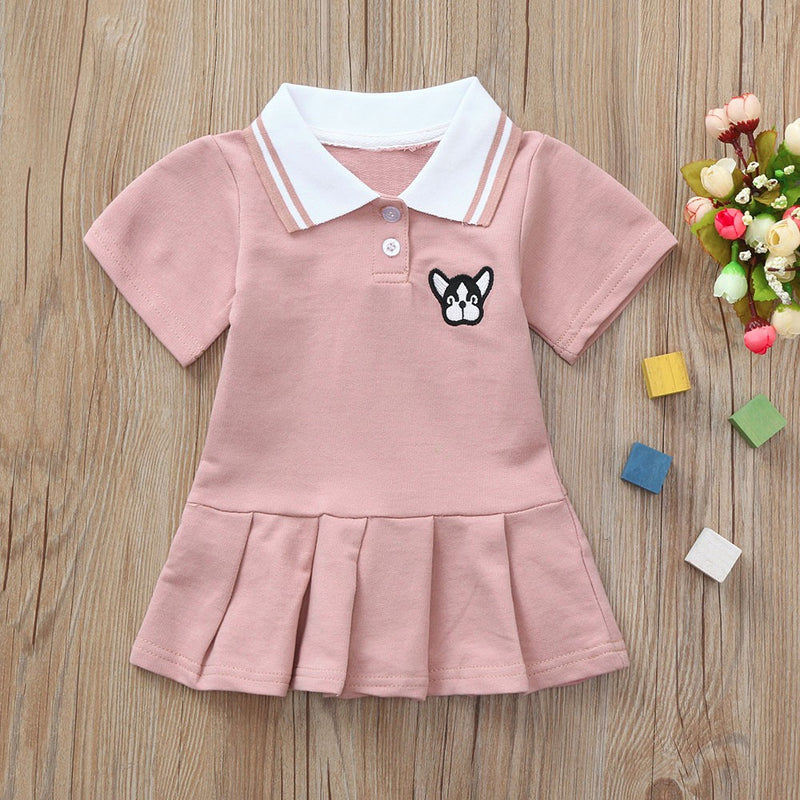 Toddler Baby Girls Short Sleeve Cratoon Dog Dress Clothes