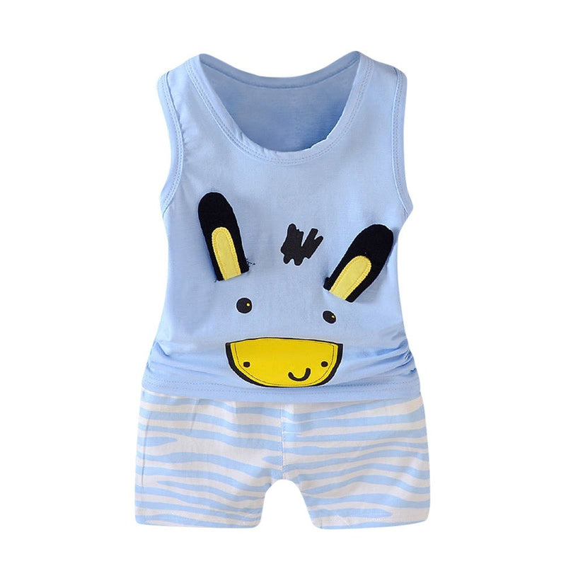 2Pcs Toddler Baby Girls Boys Cartoon Vest Tops T Shirt Shorts Outfits Set