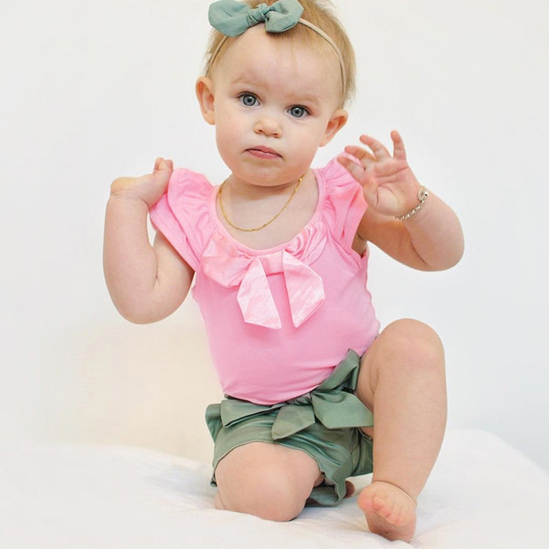 Newborn Kids Baby Girls Ruffles Flutter Sleeve Romper Playsuit