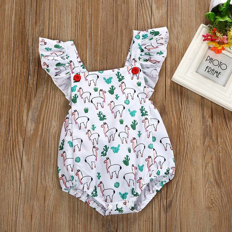 Newborn Kids Baby Girls Outfits Clothes Cartoon Printing