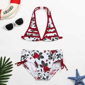 Infant Kid Girls Rose Floral Ruched Swimwear
