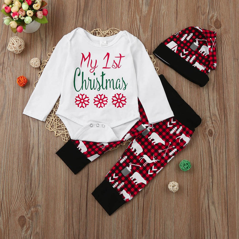 Newborn Infant Baby Boy Girl Letter Romper Tops+Pants+Hat Christmas Outfits Set