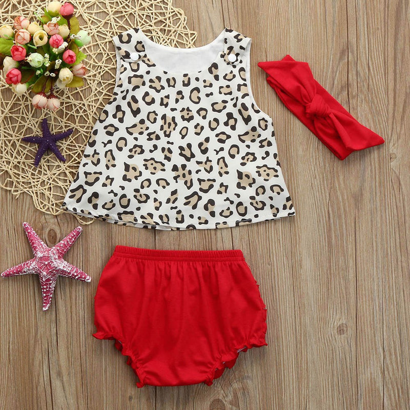 Newborn Kids Baby Girls Outfits Clothes Leopard Vest