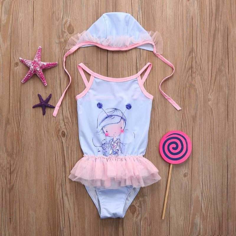 Toddler Kid  Baby Girl Cartoon Lace 2 Piece Swimsuits