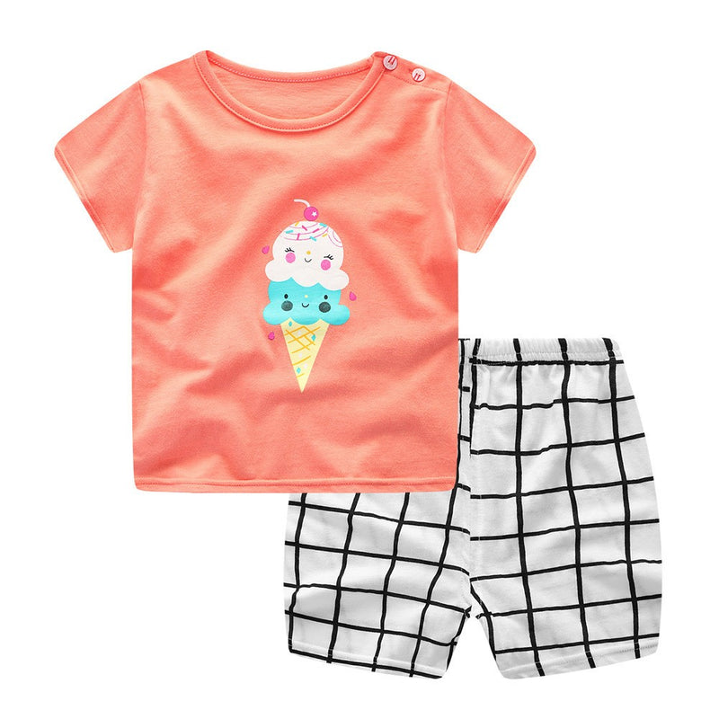 Newborn Infant Baby Boys Girls Cartoon Ice-cream Tops Shirt+Pants Outfits Set
