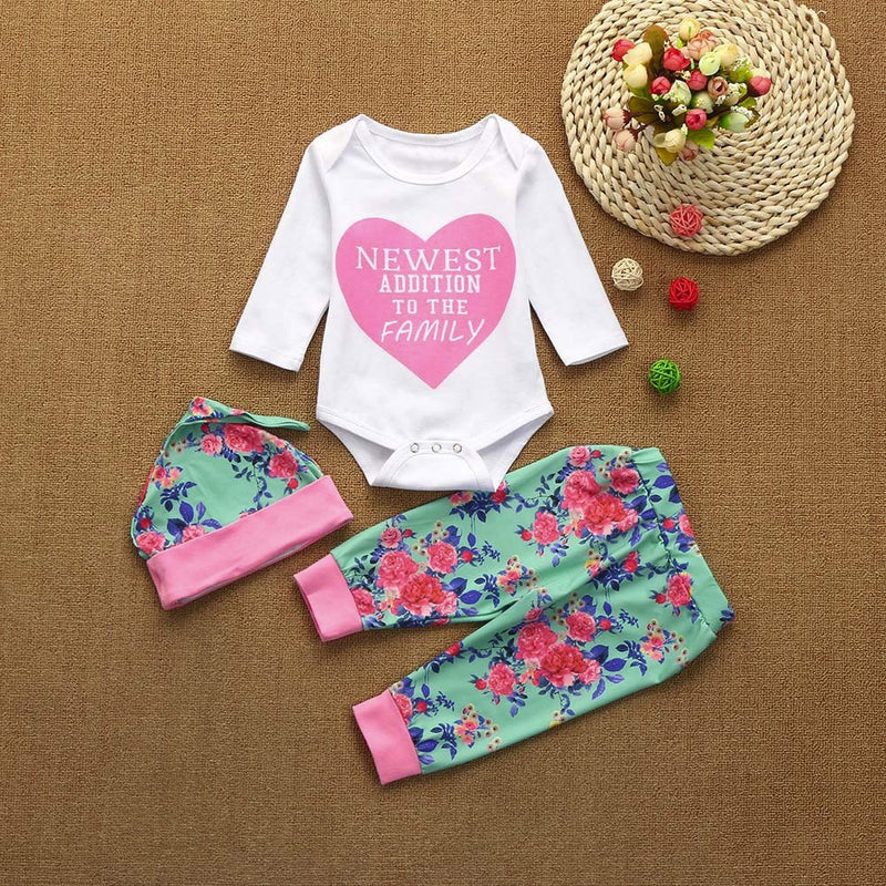 3pcs Toddler Infant Baby Girls Letter Clothes Set