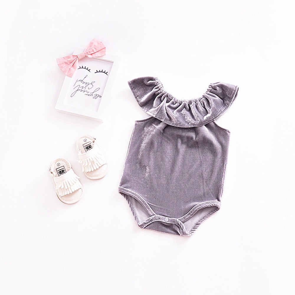 Newborn Infant Baby Girls Ruffles Neck Solid Romper Playsuit