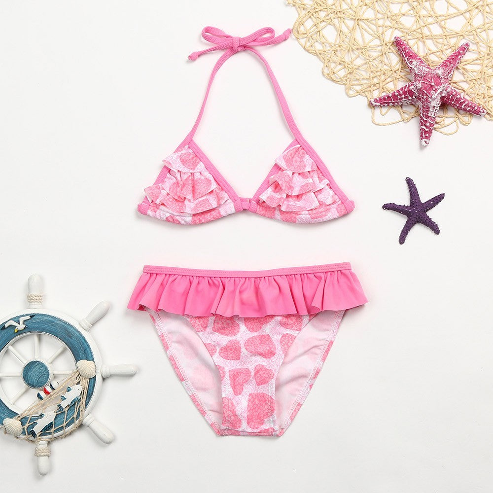 Infant Kid Girl Heart Floral Ruched Swimwear Swimsuit