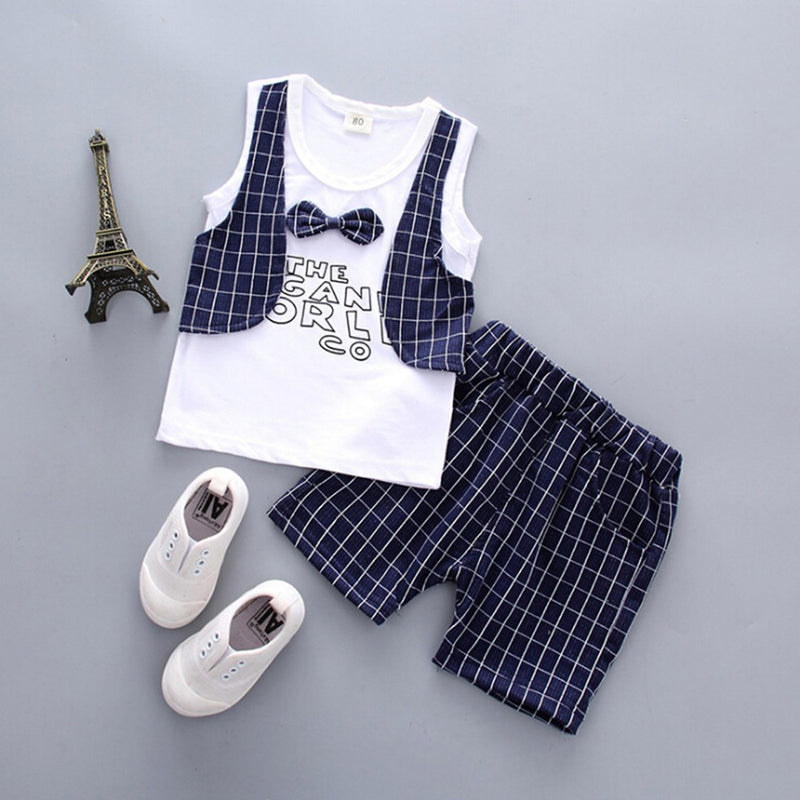 Plaid Two-piece Small Vest Series Casual Children's Baby