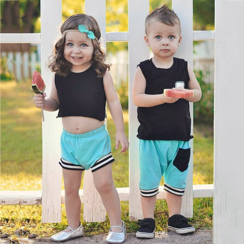 Infant Baby Boys Girls Solid Tops Vest Shorts Outfits Brother Sister Clothes Set