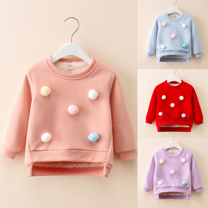 Toddler Kids Baby Boy Girl Thick Pullover Sweatshirt Tops Warm