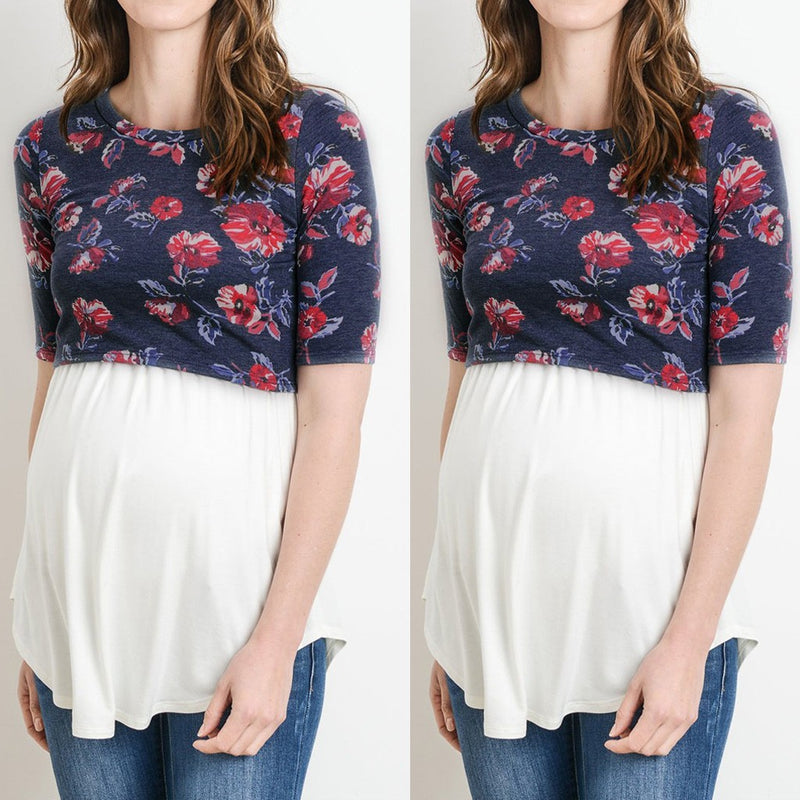 Women's Pregnancy Short Sleeve Splicing Floral Print T-shirt
