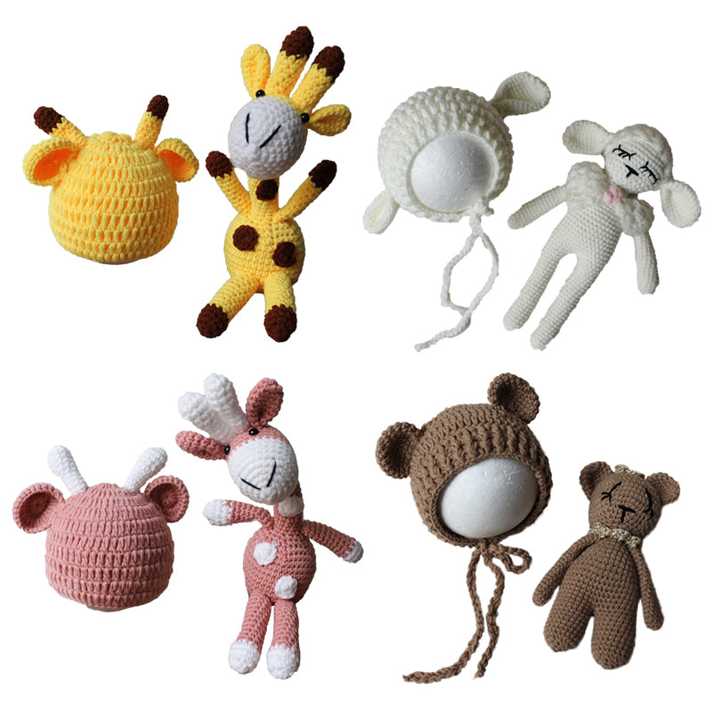 Newborn Baby Animal Dolls Hat Set Photography Accessories Giraffe Sheep Puppy Beanie Bear Hat Infant Bebe Handmade Knitted Toy