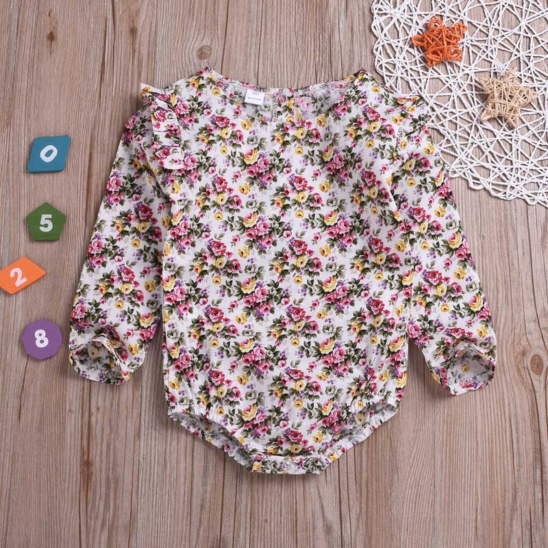 Infant Toddler Baby Girl Long Sleeve Print Floral Color Romper