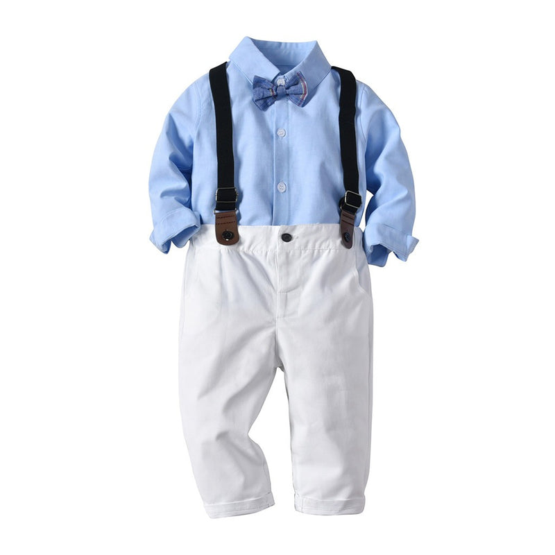 Toddler Baby Boys Striped Gentleman Bowtie Long Sleeve Shirt+Overall