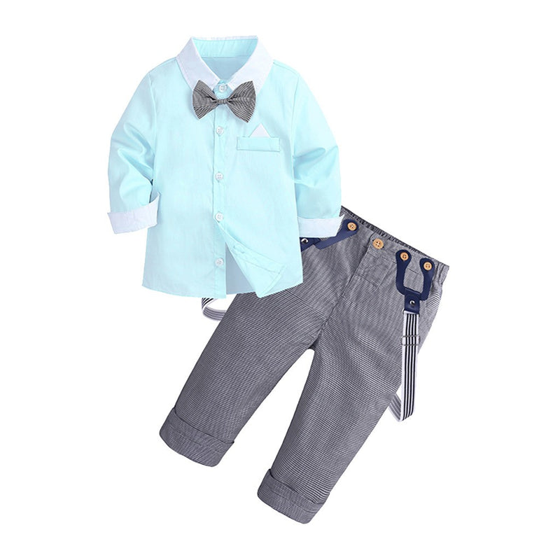 Toddler Baby Kids Boys Gentleman Solid Top T-Shirt+Plaid Trousers