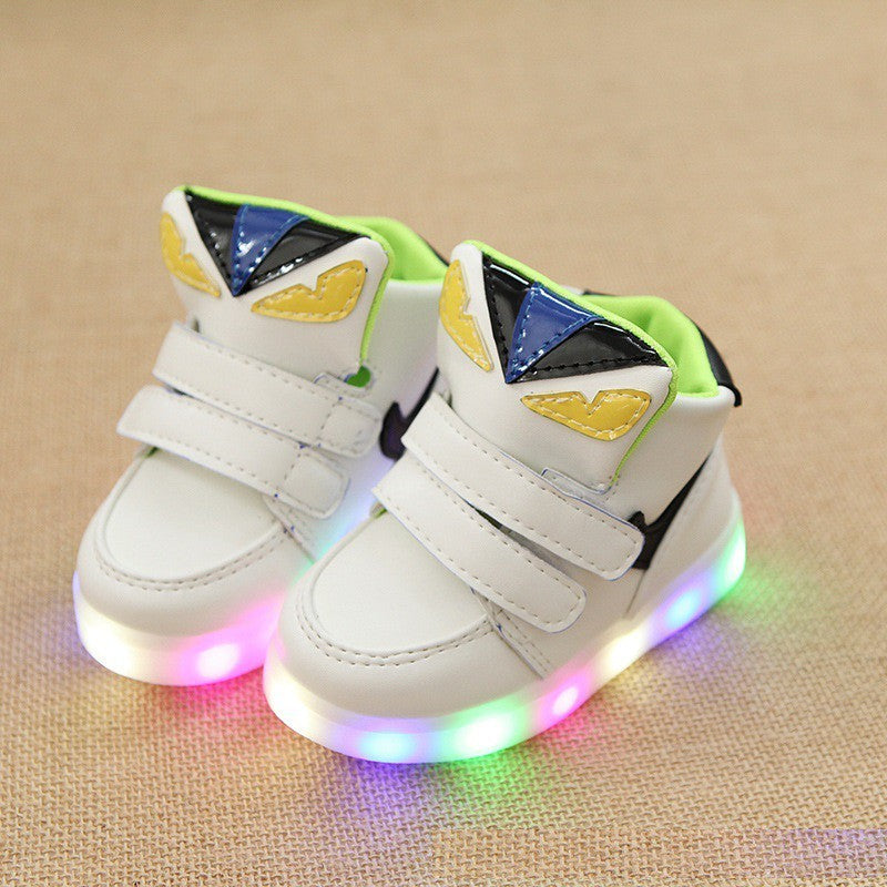 Kids Fashion Shoes Pu Leather Material Led Stylish Sporty Lights Casual Shoes