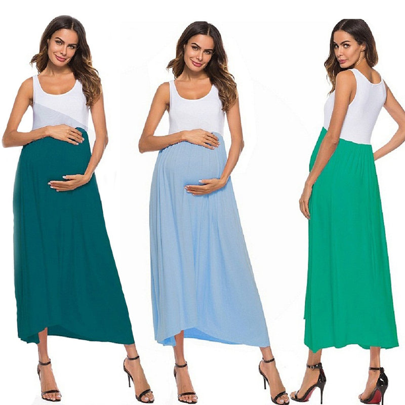 Women Maternity  Sleeveless  Ruched Sheath Color Block