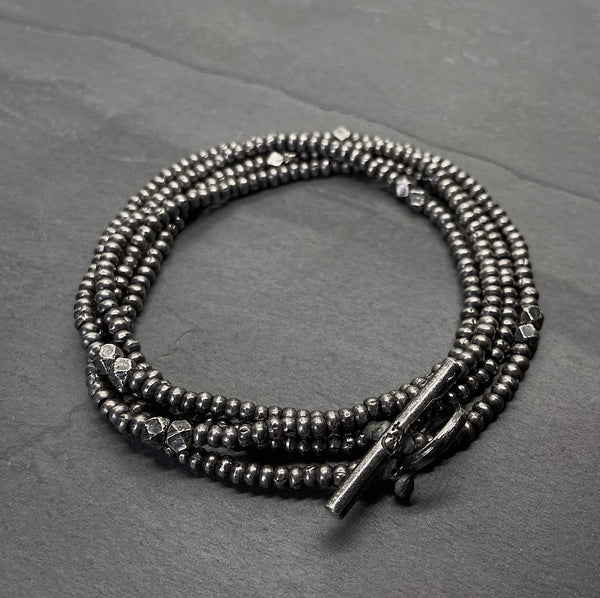 Silver Beaded Wrap Bracelet with Silver Toggle Clasp