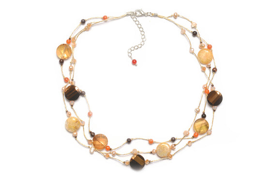 T55-01 : Silk & Stones Necklace