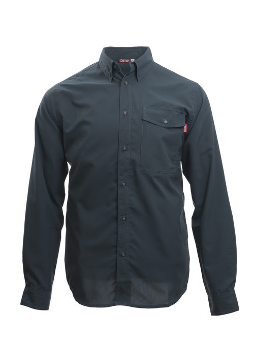 Boat to Bar Long Sleeve Slate Button Up