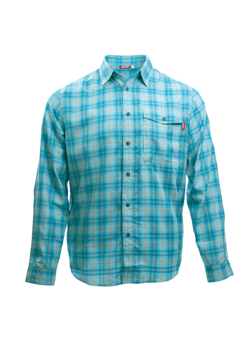 Boat to Bar Performance Plaid Long Sleeve Light Blue