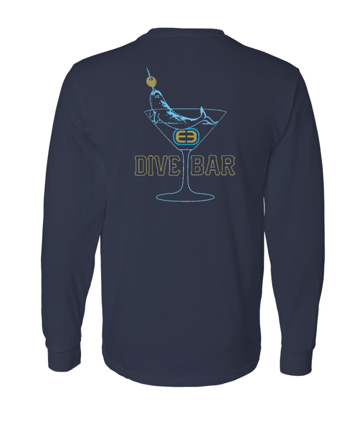 Limted Time Dive Bar Cotton Long Sleeve - Navy