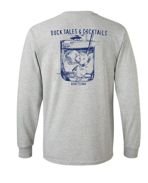 Dock Tales and Cocktails Long Sleeve - Heather Grey