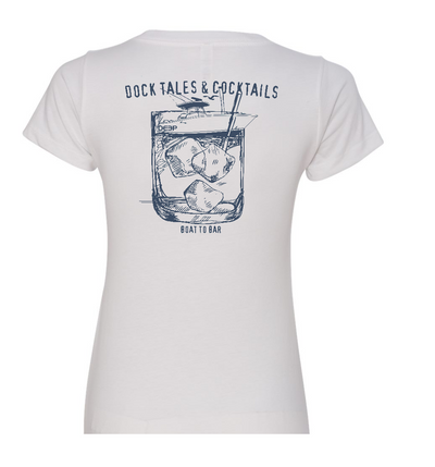 Women's Dock Tales and Cocktails V-Neck White