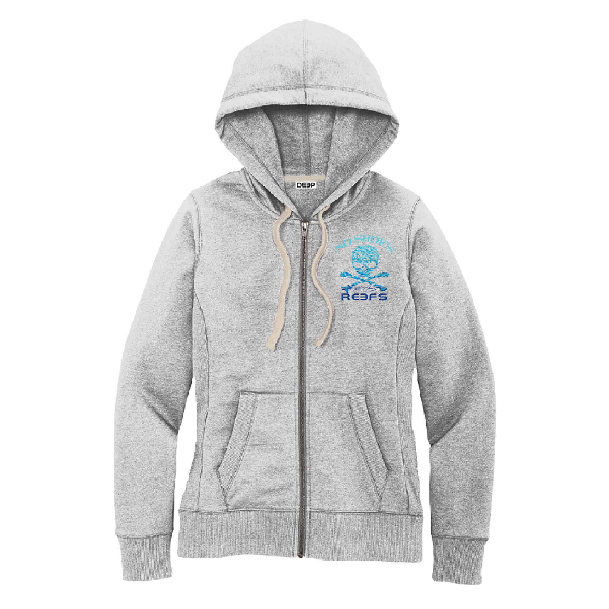 No Shoes Reefs Womens Zip Up Hoodie - Light Grey Heather