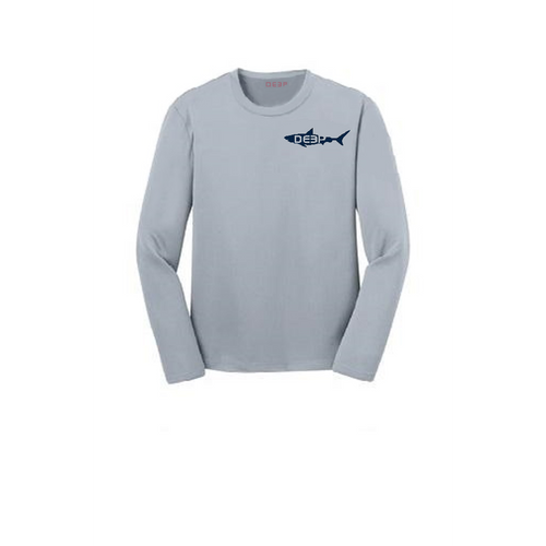 Schoolie Long Sleeve Sun T Grey  - Navy Shark