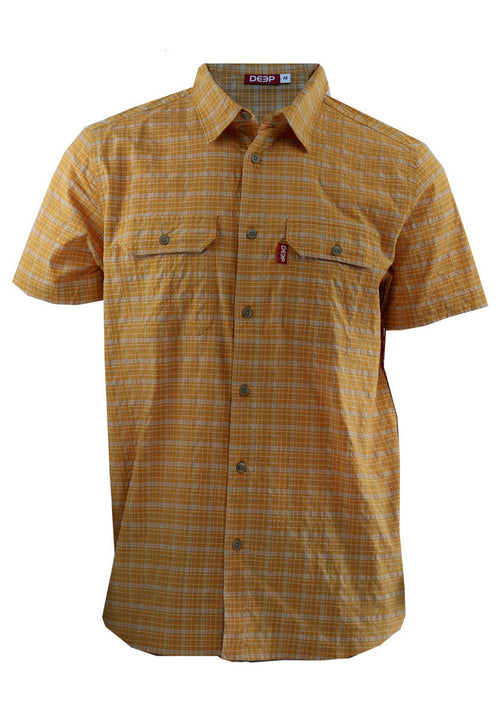Boat TO> Bar: Orange Stretch Plaid Short Sleeve