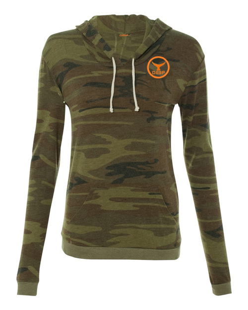 Womens Forest Camo Triblend Hooded Long Sleeve