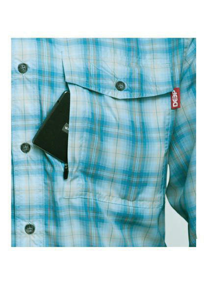 Boat to Bar Performance Plaid Long Sleeve Light Blue Pocket