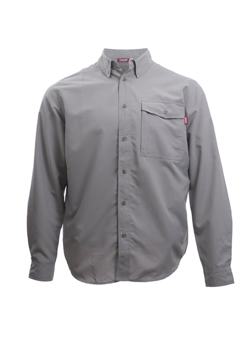 Boat to Bar Long Sleeve Grey Button Up