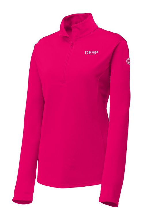 Ladies Raspberry BYOB Performance Quarter Zip