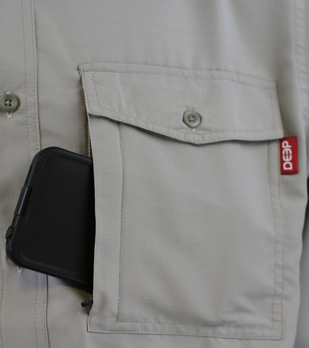 Boat TO> Bar: Long Sleeve Grey Button-Up Pocket