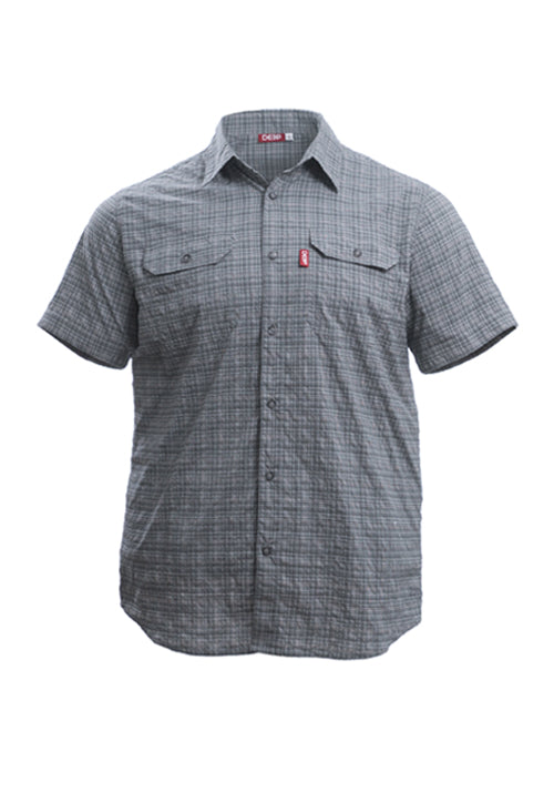 Boat to Bar Short Sleeve Grey Stretch Plaid